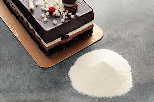powder next to a cake