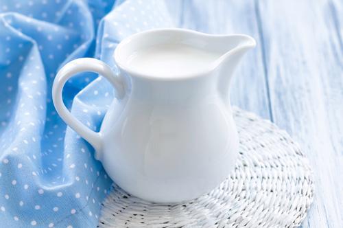 milk in a pitcher
